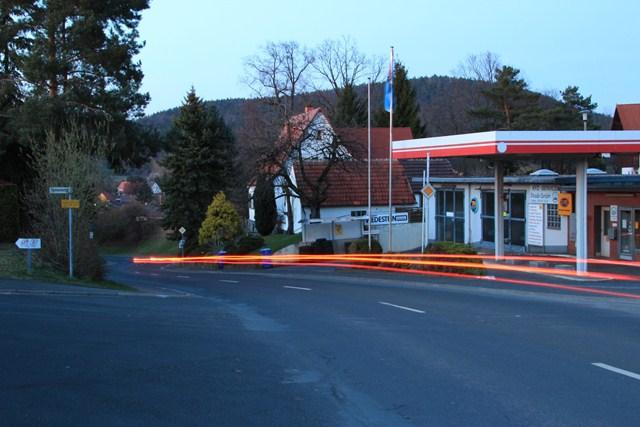 Langzeitbelichtung Tankstelle
