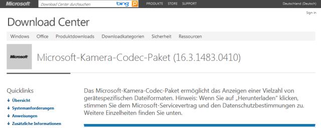 Microsoft Kamera-Codec-Pack